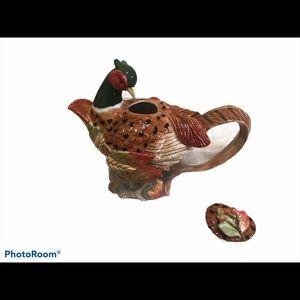 HP! 🎉EUC Fitz and Floyd Pheasant Teapot - Retired